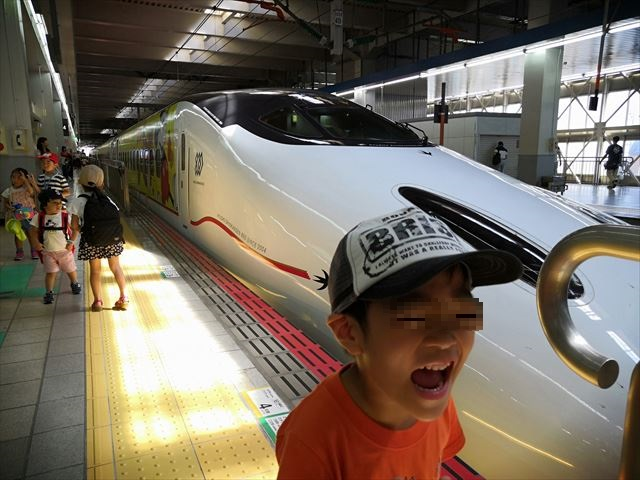 新幹線と記念撮影